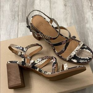 NWT! Madewell stacked heel snake sandals